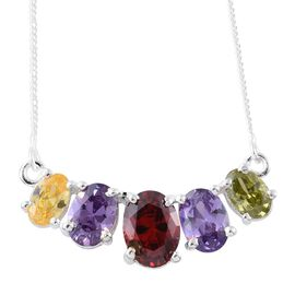 ELANZA AAA Simulated Garnet (Ovl), Simulated Tanzanite, Simulated Amethyst, Simulated Citrine and Simulated Peridot Necklace (Size 18) in Sterling Silver