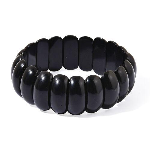 Black Agate Stretchable Bracelet (Size 6.5 to 9) 327.150 Ct.