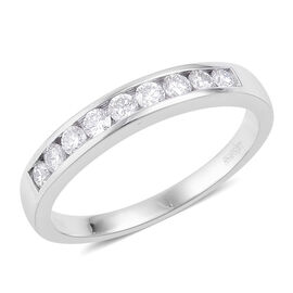 RHAPSODY 950 Platinum (5.46 Grms) IGI Certified Diamond (Rnd) (VS/E-F) Half Eternity Band Ring 0.500 Ct.