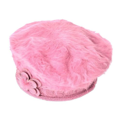 MILANO COLLECTION - Pink Flower Embellished Faux Fur Knitted Beret
