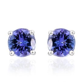 9K White Gold 1 Carat AA Tanzanite (Rnd) Stud Earrings (with Push Back)