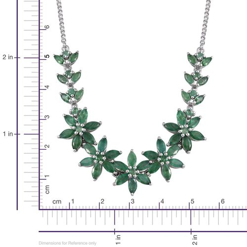 Kagem Zambian Emerald (Mrq) Floral Necklace (Size 18) in Platinum Overlay Sterling Silver 10.000 Ct.