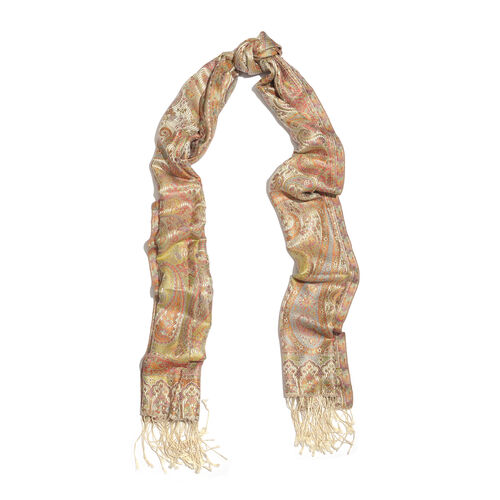 SILK MARK - 100% Superfine Silk Cream, Red, Green and Multi Colour Jacquard Scarf with Fringes (Size 180x70 Cm) (Weight 125 - 140 Grams)