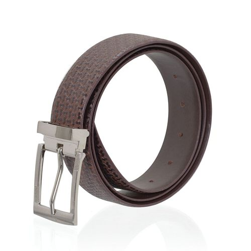 Genuine Leather Reversible Brown Colour Mens Belt with Silver Tone Buckle (Size 47-48 inch)