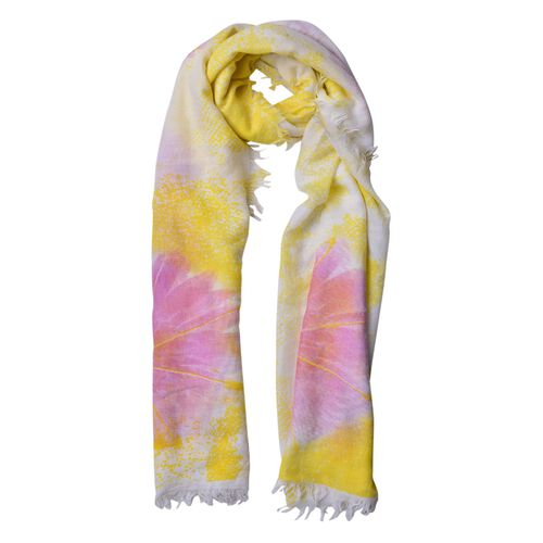 Yellow, Pink and White Colour Floral Pattern Scarf with Fringes (Size 180X90 Cm)