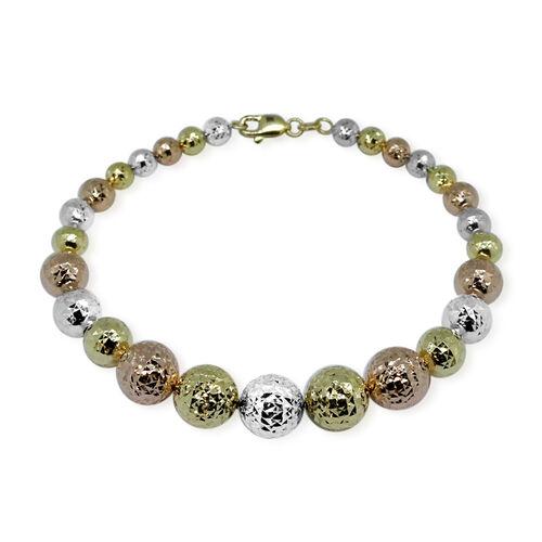 Designer Inspired-9K Yellow, White and Rose Gold Diamond Cut Ball Bracelet (Size 8), Gold wt 8.43 Gms.