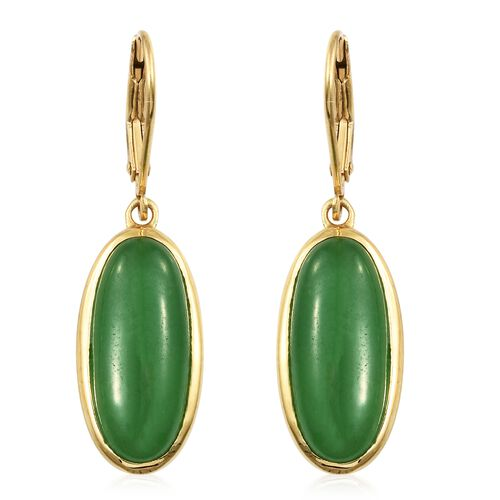 Green Jade (Ovl) Lever Back Earrings in 14K Gold Overlay Sterling Silver 13.000 Ct.