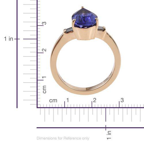 ILIANA 18K Yellow Gold AAA Tanzanite (Pear 3.60 Ct), Diamond (SI/G-H) Ring 3.750 Ct.