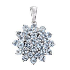 Espirito Santo Aquamarine (Rnd) Floral Pendant in Platinum Overlay Sterling Silver 3.500 Ct.