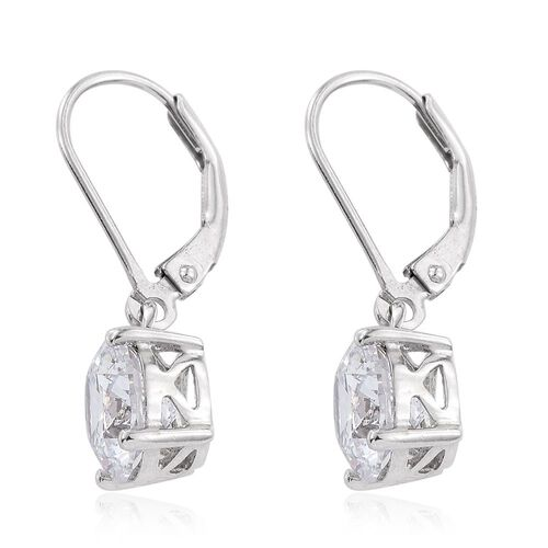 J Francis - Platinum Overlay Sterling Silver (Rnd) Lever Back Earrings Made with SWAROVSKI ZIRCONIA. Stone Size Round 8MM.