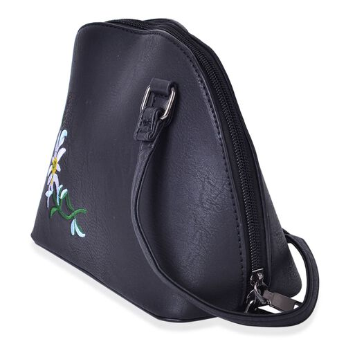 Black, White and Yellow Colour Flower Embroidered Crossbody Bag with Adjustable Shoulder Strap (Size 22X17X10 Cm)