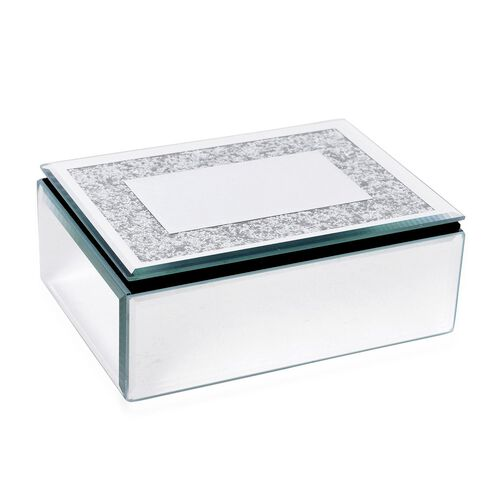 Silver Bling Paper Embellished White Colour Glass Box (Size 15.5X11.5X6 Cm)
