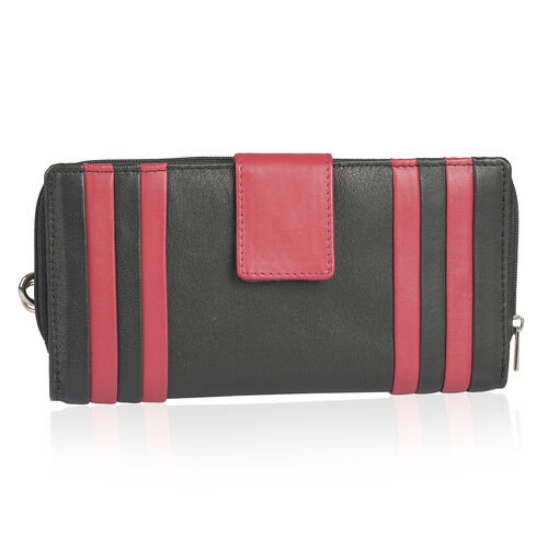 Genuine Leather RFID Blocker Black and Fuchsia Colour Stripes Pattern Wallet with Multiple Card Slots (Size 20X10 Cm)