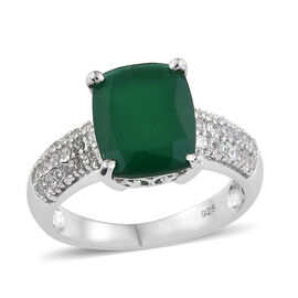 Verde Onyx (Cush 12x10MM 4.30 Ct), Natural Cambodian Zircon Ring in Platinum Overlay Sterling Silver 5.000 Ct.