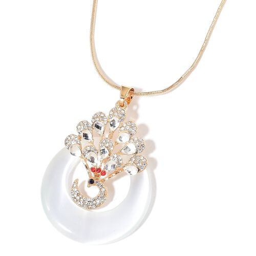 Simulated White Diamond, Simulated White Cats Eye and Multi Colour Austrian Crystal Peacock Pendant With Chain in Yellow Gold Tone