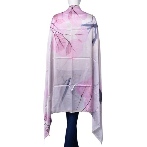 Designer Inspired -Dark Pink and Multi Colour Leaves Pattern Light Pink and Silver Colour Multi Functional Poncho (Size 175x98 Cm)