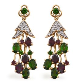 GP Russian Diopside (Ovl), Rhodolite Garnet, Natural Cambodian Zircon and Kanchanaburi Blue Sapphire Earrings (with Push Back) in 14K Gold Overlay Sterling Silver 7.750 Ct.
