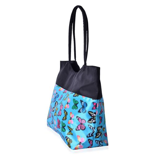Black, Blue and Multi Colour Butterfly Pattern Tote Bag (Size 52X38X32X15.5 Cm)