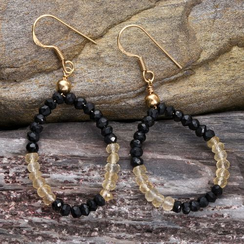Boi Ploi Black Spinel, Citrine Hook Earrings in 14K Gold Overlay Sterling Silver 14.350 Ct.