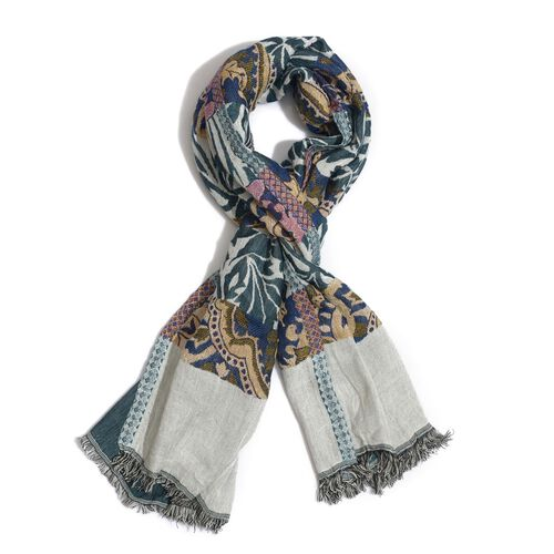 White, Green and Multi Colour Scarf (Size 175x65 Cm)