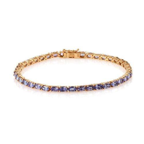 AA Tanzanite (Ovl) Tennis Bracelet (Size 8) in 14K Gold Overlay Sterling Silver 9.250 Ct.