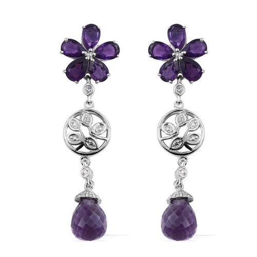 Amethyst, White Topaz Floral Earrings (with Push Back) in Platinum Overlay Sterling Silver 12.000 Ct.