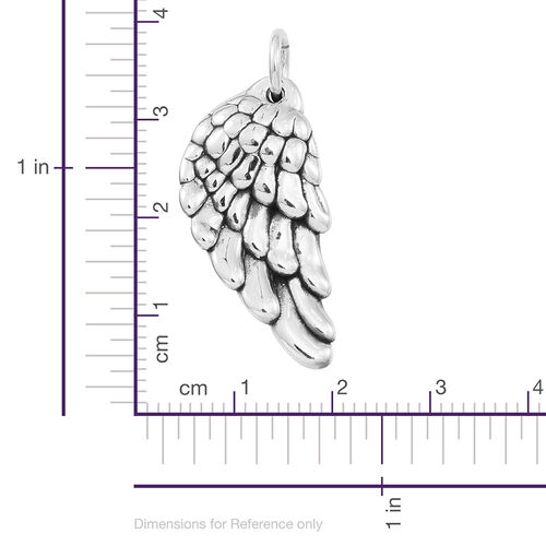 JCK Vegas Collection High Polish Sterling Silver Feather Pendant, Silver wt 4.05 Gms.