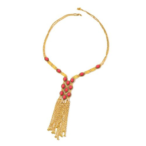 Simulated Coral Necklace (Size 30 with 2 inch Extender) and Hook Earrings in Yellow Gold Tone