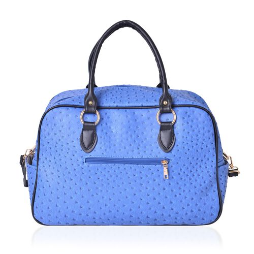 Blue Ostrich Pattern Weekend Bag with External Zipper Pocket and Removable Shoulder Strap (Size 42x26x17 Cm)