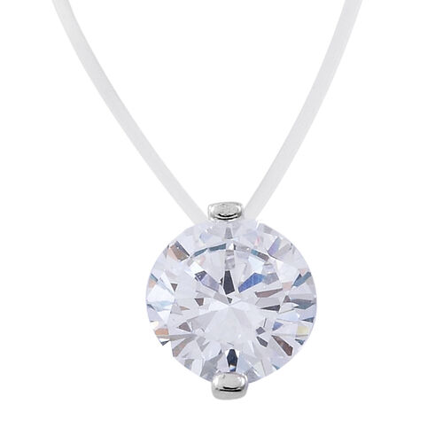 ELANZA AAA Simulated White Diamond (Rnd) Necklace (Size 16 with 1.5 inch Extender) in Sterling Silver