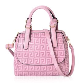 Spring Pink Greek key Pattern Tote Bag with External Zipper Pocket and Adjustable Shoulder Strap (Size 28x26x10.5 Cm)
