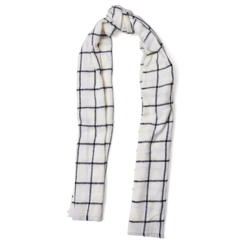 New For Season - Italian Designer White and Black Colour Checks Pattern Scarf with Fringes (Size 200x55 Cm)