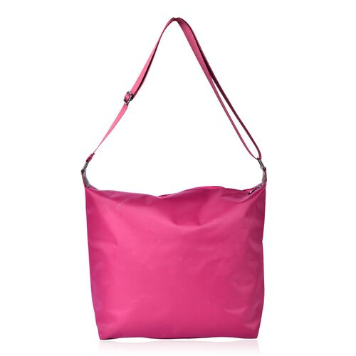Fuchsia Colour Crossbody Bag with External Zipper Pocket and Adjustable Shoulder Strap (Size 38x34x32x12.5 Cm)