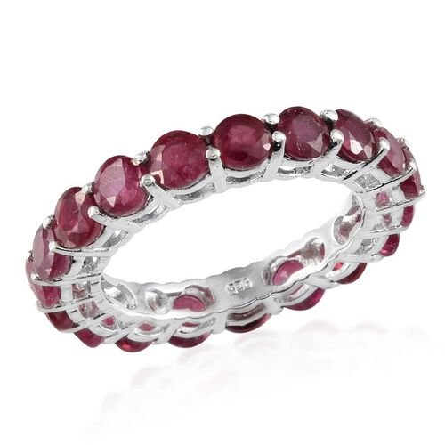 African Ruby (Rnd) Full Eternity Ring in Platinum Overlay Sterling Silver 6.000 Ct.