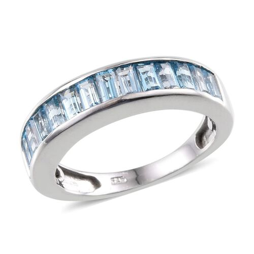 Electric Swiss Blue Topaz (Bgt) Half Eternity Band Ring in Platinum Overlay Sterling Silver 1.750 Ct.