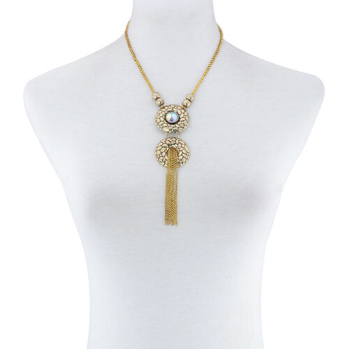 White Glass Necklace (Size 20) in Gold Tone