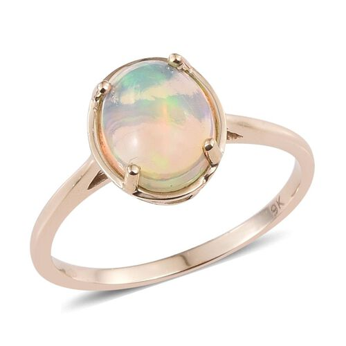9K Y Gold Ethiopian Welo Opal (Ovl) Solitaire Ring 2.000 Ct.