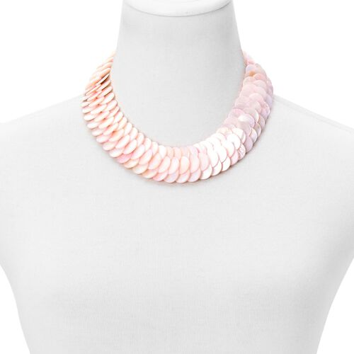 One Time Deal-Genuine Organic Pink Shell Necklace (Size 18) 610.000 Ct.