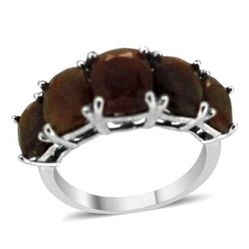 Chocolate Sapphire (Cush 3.00 Ct) 5 Stone Ring in Rhodium Plated Sterling Silver 10.000 Ct.