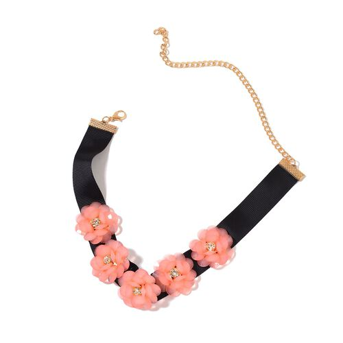 Set of 2 - AAA White Austrian Crystal Peach and Black Colour 3D Floral Necklace (Size 11.5) in Yellow Gold Tone