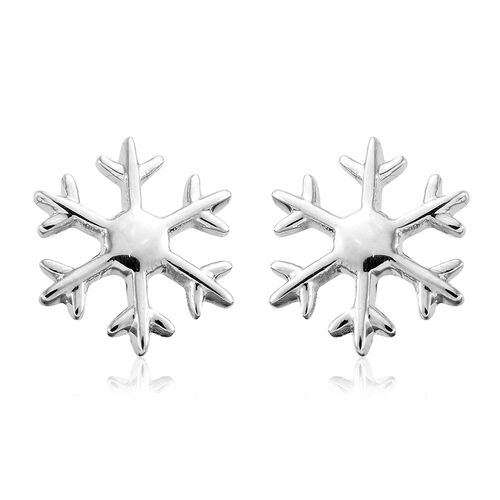 Platinum Overlay Sterling Silver Snowflake Stud Earrings (with Push Back)
