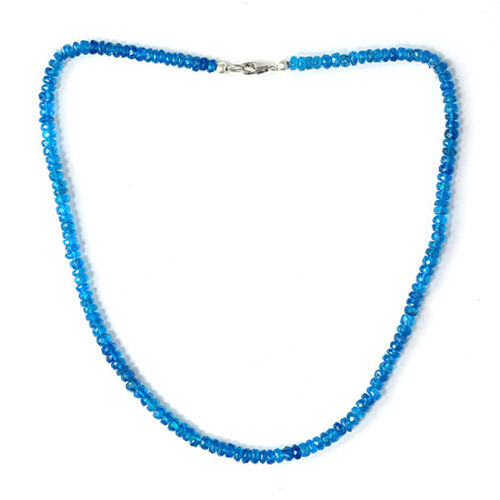 Malgache Neon Apatite Beads Necklace (Size 18) in Sterling Silver 61.950 Ct.