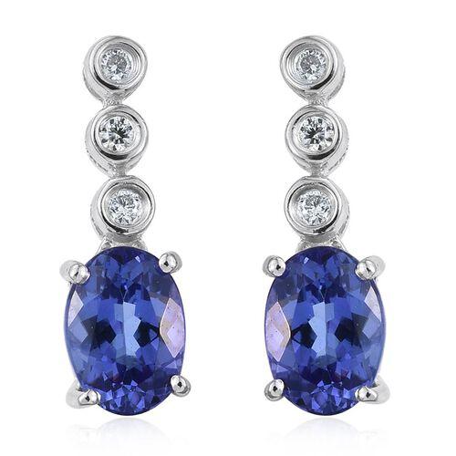 ILIANA 18K W Gold AAA Tanzanite (Ovl), Diamond Earrings (with Screw Back) 1.750 Ct.