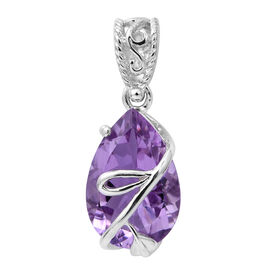 Rose De France Amethyst (Pear) Pendant in Platinum Overlay Sterling Silver 4.760 Ct.