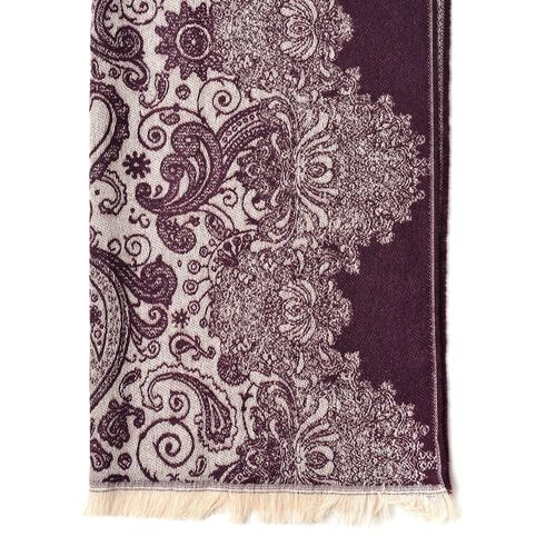Italian Designer Red and Cream Colour Paisley Pattern Scarf with Tassels (Size 180X65 Cm)