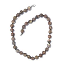 Jasper Ball Necklace (Size 20) in Platinum Overlay Sterling Silver 316.000 Ct.