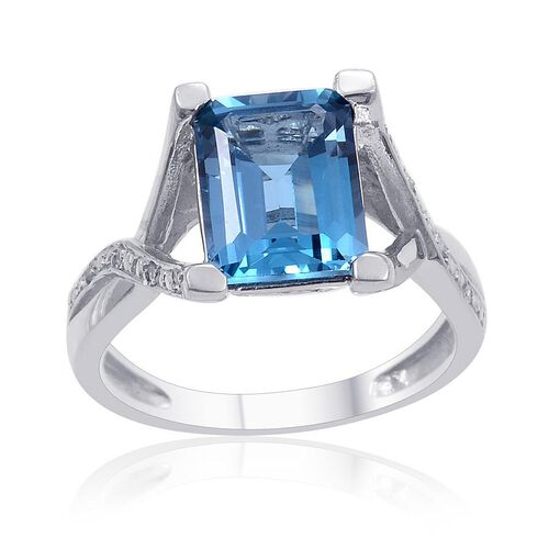 London Blue Topaz (Oct 3.50 Ct), Diamond Ring in Platinum Overlay Sterling Silver 3.520 Ct.