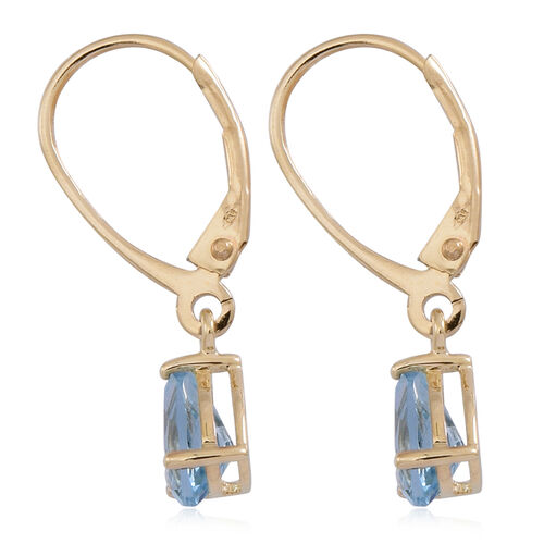 9K Y Gold AAA Santa Maria Aquamarine (Pear) Lever Back Earrings 1.000 Ct.