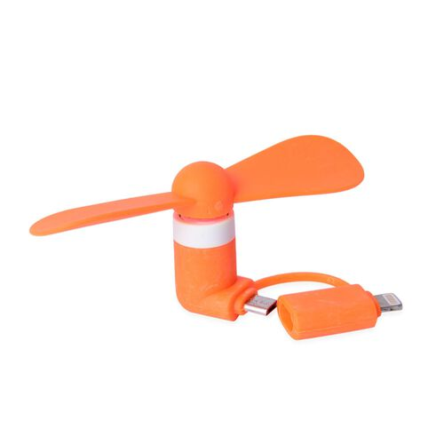 Set of 3 - Simulated Fire Opal Filled Pen (Black Ink), Green Colour Multi Functional Whistle and Orange Colour Mobile Fan