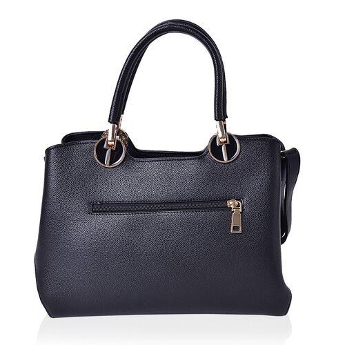 Black Colour Tote Bag with External Zipper Pocket and Removable Shoulder Strap (Size 28x20x13 Cm)